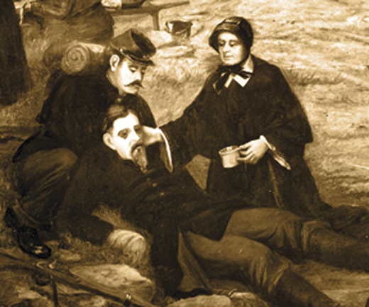 <em>Sister Mary Anthony O'Connell tending to a wounded soldier.</em>