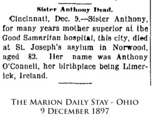 Sister Mary Anthony's newspaper obituary.