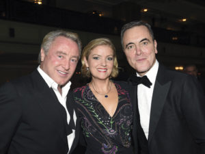 Michael Flatley, and his wife Niamh O'Brien, with the actor Jimmy Nesbitt.