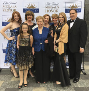 Eileen, pictured with her family at the 2016 Ellis Island Medal of Honor Awards. Eileen was recognized as a descendant of Irish Immigrants by the National Ethnic Coalition of Organizations (NECO).