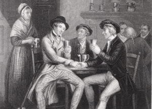 """Illustration to Robert Burns' poem """"Auld Lang Syne"""" by J.M. Wright and Edward Scriven."""