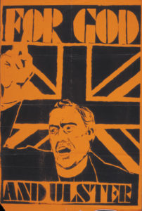 One of the Northern Ireland posters on display at the John J. Burns Library, Boston College.