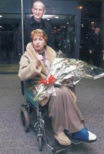 Mary McAleese leaving the hospital.