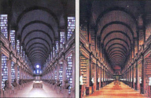 Identical twins? Left: Jedi Archives; Right: Trinity College's historic Long Room Library.