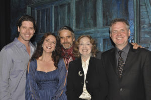 The Irish Rep Gala, June 4, 2018: James Barbour, Melissa Errico, Jeremy Irons, Charlotte Moore, and Ciarán O'Reilly.