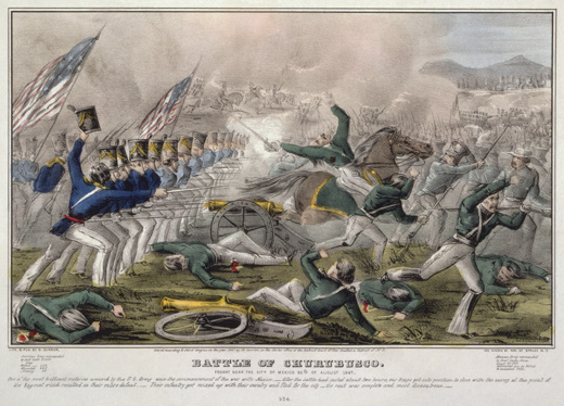 "<em>""Battle of Churubusco. Fought near the city of Mexico 20th of August 1847 / J. Cameron."" Hand-tinted lithograph. 1847. John Cameron (artist), Nathaniel Currier (lithographer and publisher).</em>"