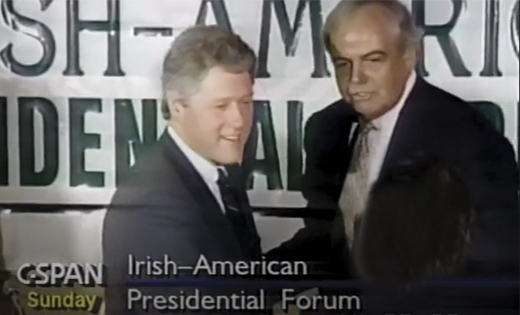 <em>John C. Dearie introduces candidate William J. Clinton to one of the Irish-American Presidential Forum attendees. New York City, April 1992.</em>