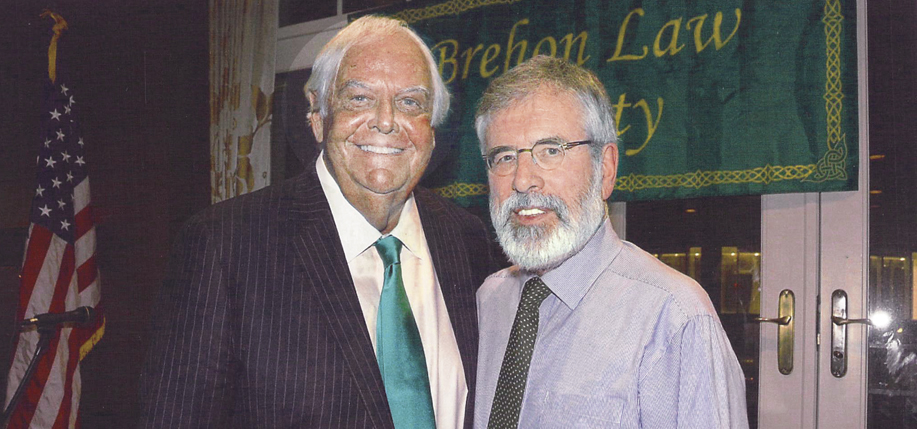 John Dearie pictured with Gerry Adams in 2018.