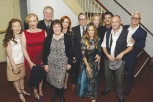 Terry Donnelly, J. Smith Cameron, Ciarán O'Reilly, Caitriona Yeats, Swoosie Kurtz, Matthew Broderick, Sarah Jessica Parker, Charlotte Moore, Peter Gallagher, Colum McCann, and John Slattery at the 2016 Irish Rep gala fundraiser.