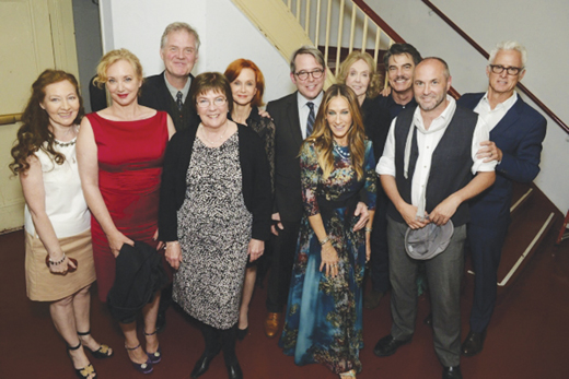 <em>Terry Donnelly, J. Smith Cameron, Ciarán O'Reilly, Caitriona Yeats, Swoosie Kurtz, Matthew Broderick, Sarah Jessica Parker, Charlotte Moore, Peter Gallagher, Colum McCann, and John Slattery at the 2016 Irish Rep gala fundraiser.</em>