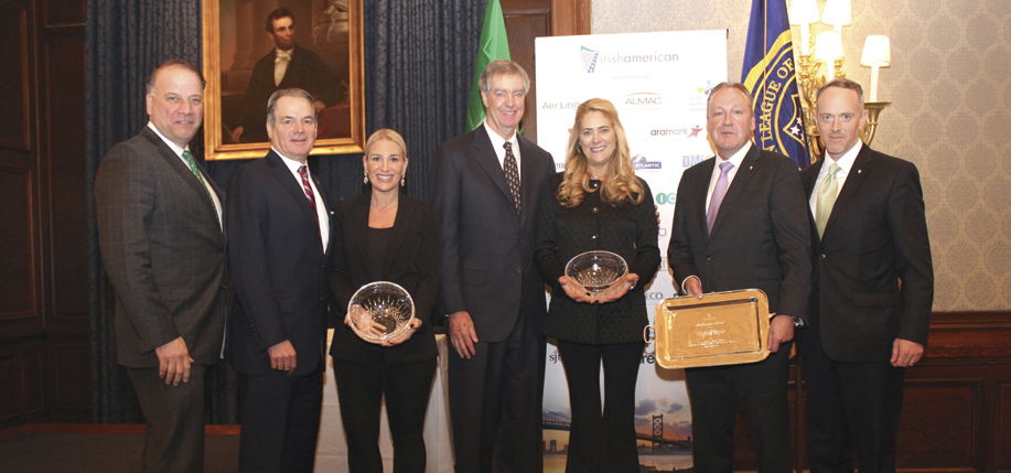 Sean Flatley, President of the Irish American Business Chamber & Network; Col. Tom Manion, Chairman Emeritus, and Ryan Manion, Preisdent, of the Travis Manion Foundation; Daniel & Sarah Keating; Liam Kelly, CEO of Teleflex; Kevin Kent, Chairman of the Irish American Business Chamber & Network.