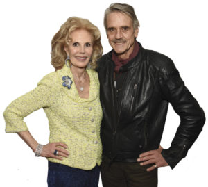 Longtime supporter and 2018 gala honoree Tina Santi Flaherty, with Jeremy Irons, who participated in the stage production of songs by lyricist Alan Jay Lerner.