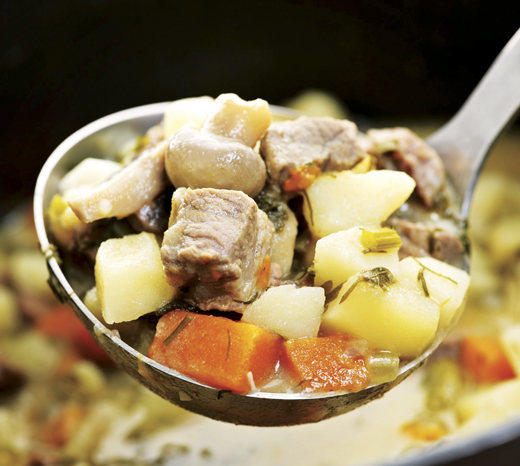 <em>A hearty scoop of Irish Beef Stew.</em>
