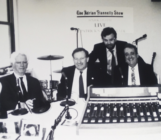 <em>Paul O'Dwyer, Bruce Morrison, Niall O'Dowd, and Adrian Flannelly take part in an on-air discussion of the Morrison Visas.</em>