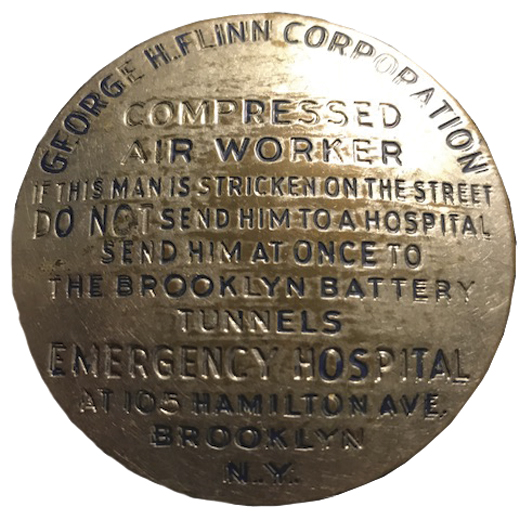 <em>Patrick's Compressed Air Worker's pin.</em>
