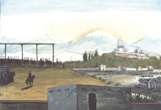 <em>Hanging of the San Patricios, following the Battle of Chapultepec. Painted in the 1840s by Sam Chamberlain.</em>