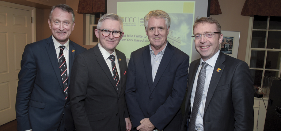 L-R: Rob Donelson, Executive Director of Development and Alumni Relations UCC; Prof. Patrick O'Shea, President of UCC; Prof. Kevin Kenny, Director of Glucksman Ireland House NYU; and Ciarán Madden, Ireland's Consul General to New York.