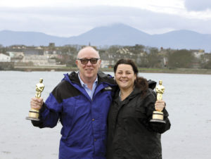 Ulster homecoming: Terry and his daughter Oorlagh pose with their joint Oscars for The Shore. The film won the 2012 Oscar for Best Live Action Short Film.