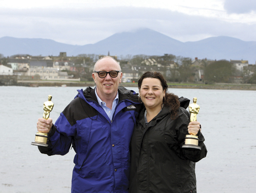 <em>Ulster homecoming: Terry and his daughter Oorlagh pose with their joint Oscars for The Shore. The film won the 2012 Oscar for Best Live Action Short Film.</em>