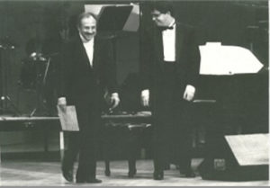 Performing with his father, the Cuban composer, at Carnegie Hall.
