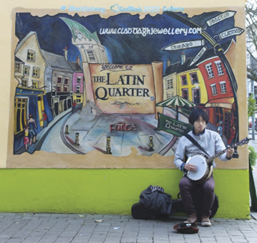The Latin Quarter of Galway City extends from the Spanish Arch to O'Brien's Bridge to St. Nicholas' Church to Middle Street.