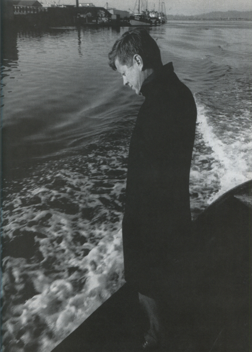 <em>This photograph of JFK, taken in Coos Bay, Oregon, shortly after he addressed a group of tough, hostile longshoremen in their union hall, shows a pensive Kennedy, obviously preoccupied with his failure to reach the men. Photograph by Jacques Lowe.</em>