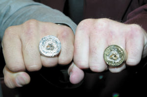 Arturo Gotti and Ward pose with their new trilogy rings that Arturo had made and gave to Micky as a retirement gift. In the last fight of his career Ward lost by a decision to Gotti. The two are friends, and each received $1 million from HBO for the fight which took place in Atlantic City in June.