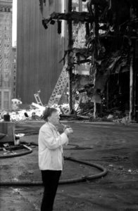 Cheiftain Paddy Moloney plays the tin whistle at Ground zero in memory of those who were lost.