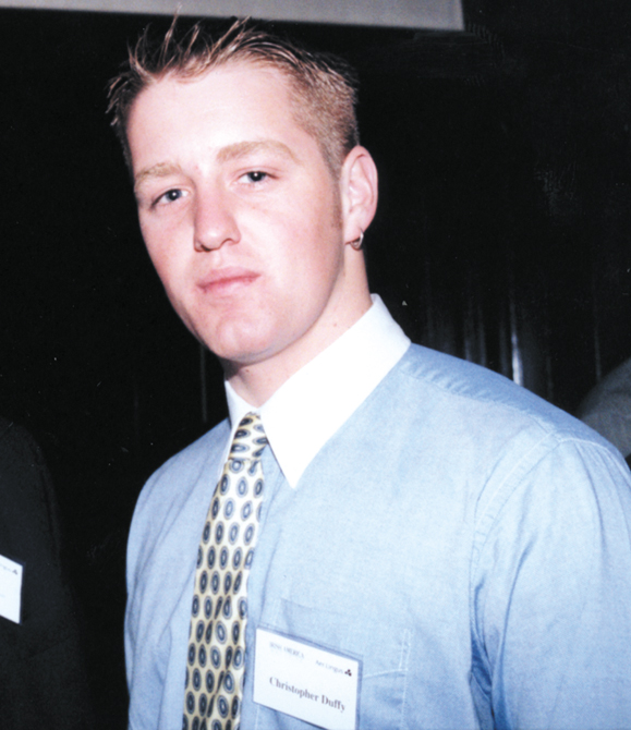 <em>Chris Duffy attending Irish America's annual Wall street 50 reception, in Windows of the World, July 11, 2001.</m>