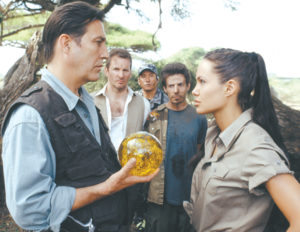 Ciaran Hinds plays cat and mouse with Angelina Jolie in Tomb Raider: The Cradle of Life.