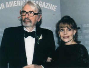 Gregory Peck and his wife, Veronique at Irish America's Irish of the Century Party, 1999.