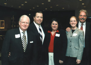 John Sharkey, Mike Rice, Patricia Daly, and Kathleen and Michael Tuohy at a Special Olympics event Rice hosted at the Prudential Building in May.