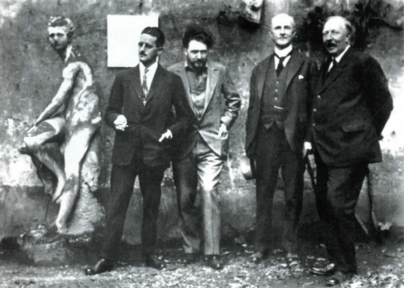 James Joyce in the company of Ezra Pound, John Quinn and Ford Madox Ford.