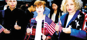 Maura Muligan (center) with friends Peggy and Pat, at the candle light ceremony at Union Square on the night of September 13.