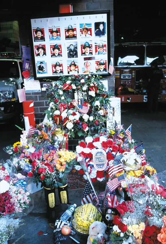 <em>Memorial outside the firehouse of Battalion 9/Engine Company 54, which lost 15 firemen.</em>