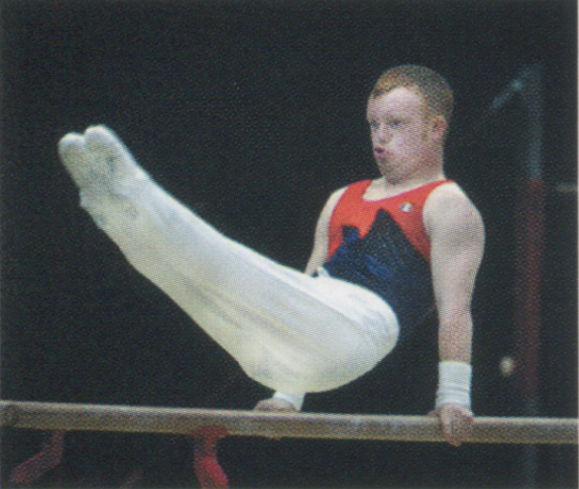 <em>Miles Middleton of Great Britian competes on the parallel bars at the RDS on June 24.</em>