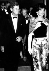 President Kennedy and Jacqueline Kennedy attend the opening of Mr. President at the National Theater, Washington, D.C., 1962