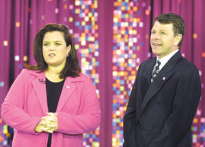 "Rosie O'Donnell welcomes Brian Connolly of AVON to ""The Rosie O'Donnell Show"". The show has teamed up with the Avon Breast Cancer Crusade for Breast Cancer Awareness month during October 2001."