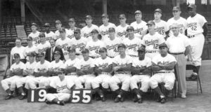The 1955 Brooklyn Dodgers, winners of the World Series.