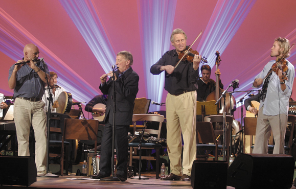 <em>The Chieftains now Matt Molloy, Kevin Conneff. Paddy Moloney and Sean Keane appear at the Rhyman Auditorium in Nashville with Jon Pilatzke on fiddle.</em>
