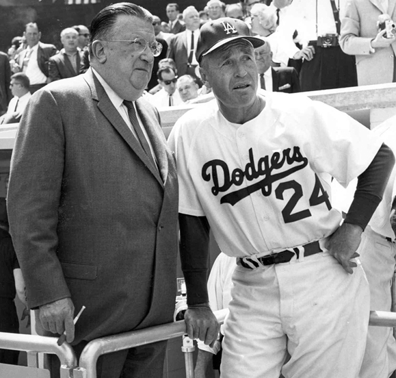 <em>Walter O'Malley and Walt Alston at the 1955 World Series.</em>