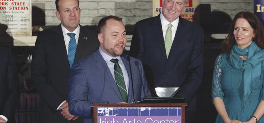 "Speaker of New York City Council, Corey Johnson, at the Irish Arts Center. Pictured are Irish Taoiseach Leo Varadkar, Corey, Mayor Bill de Blasio, and Pauline Turley, the center's vice chair. Speaking at the event, which marked a $2.5 million grant from the Irish Government to the center, Johnson said: ""The story of this project, in many ways, is the story of Ireland and the story of New York. It's persistent, gritty history of how we moved this project forward."""