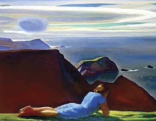 """Annie McGinley"" lying on the Donegal cliffs, by Rockwell Kent. Courtesy of the Plattsburgh State Art Museum."